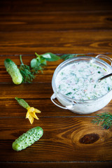 cold summer cucumber soup in a plate