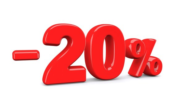 20 percent off discount sign. Red text is isolated on white. 3d render