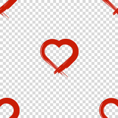 Image of the heart inflicted with a brush. Seamless pattern. Vector on a transparent background. PNG