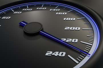 Blue speedometer in car on dashboard