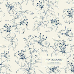 Lily flower seamless pattern with white lilies over white background. Floral background in vintage style.