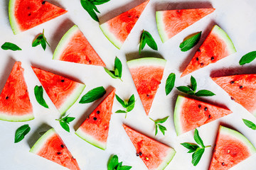 top view of watermelon slices