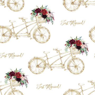 Watercolor hand drawn seamless pattern / background. Wedding romantic illustration on white background - vintage gold tandem bicycle with flower bouquet in the basket. Just Married!
