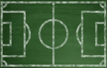 Fussballfeld auf einer grünen Tafel