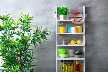 Modern white shelve stand for kitchen stuff