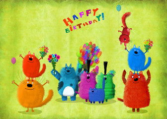 Big Company Of Colorful Cats With Balloons And Flowers