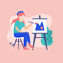 Young woman painting outdoors. Girl painter on plein air sitting near easel with color palette and paintbrush. Happy artist on chair drawing landscape. Open your creativity and inspiration concept