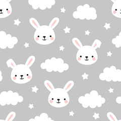Cute Rabbit Seamless Pattern, Animal Background with Clouds for Kids