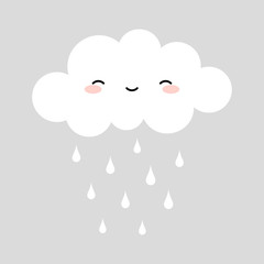 Cute Happy Cloud with Rain Drops, Print or Icon Vector Illustration