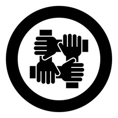 Four hand holding together team work concept icon black color in circle round