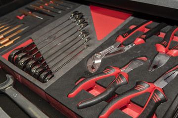 Set of pliers and wrenches in set.