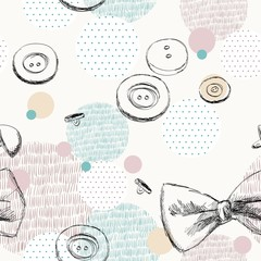 Seamless hand drawn pattern with sewing buttons.