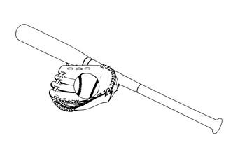 sketch set for baseball vector