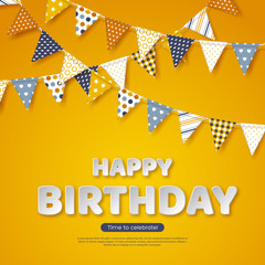 Happy birthday greeting design. Paper cut style white letters and bunting flags with different colorful patterns. Yellow background, vector illustration.