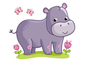Hippo standing in the meadow with flowers. Cute animal in the cartoon style. Vector illustration on a childrens theme.