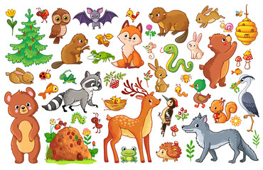 Vector set with animals and birds in a childrens style. Collection of insects and mammals in cartoon style.