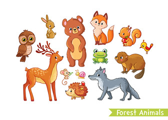 Vector set with forest animals on a white background. Mild animals in the childrens cartoon style.