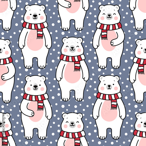 Cute Polar Bear Seamless Pattern Cartoon Christmas Background