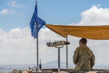 Golan Heights, Israel - May 6, 2018 : UN observers in the Israeli syrian border