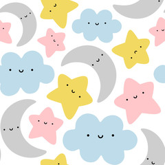 Moon, Cloud and Stars Cute Seamless Pattern, Cartoon Vector Illustration Background