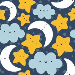 Moon, Cloud and Stars Cute Seamless Pattern, Cartoon Vector Illustration Night Sky Background