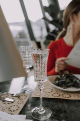 Glass of champagne in a restaurant