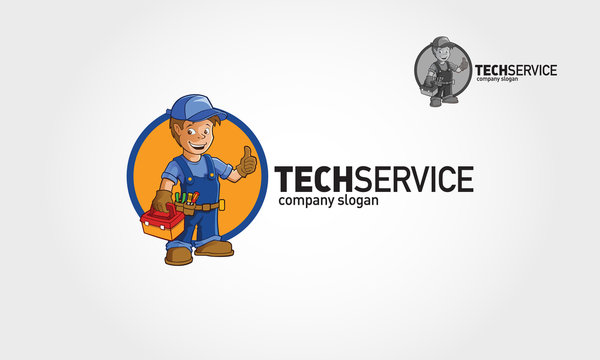 Tech Service Vector Logo Illustration. Handyman Services logo template 2.0 for Your Company.