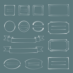 ペン画風 フレームセット / vector eps 10