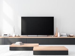 Smart Tv set Mockup standing on wooden console. 3d rendering