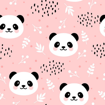 Cute panda seamless pattern, hand drawn forest background with flowers and dots, vector illustration