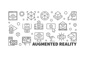 Augmented reality vector horizontal AR outline illustration