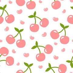 Cherry pattern, cute heart fruit cartoon seamless background with dot, Vector illustration