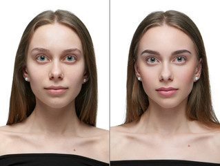 Photo comparison of one girl before and after make up. left pert - looking at camera girl without make up, right part - same girl posing after make up. Light day make up. See the difference.