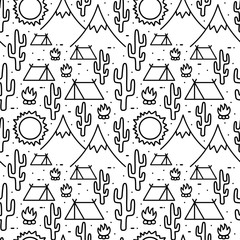 Camping Seamless Pattern, Advanture  Outdoor activity background, Vector illustration