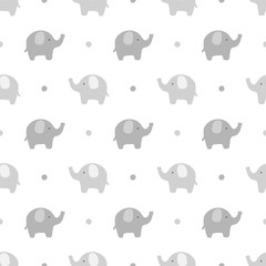 Elephant cute seamless pattern, Cartoon elephant background, vector illustration