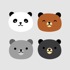 Cute Panda Bear Face Vector Icon