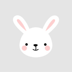Cute Rabbit Face Vector Bunny Icon