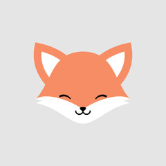 Cute Fox Face Vector Icon