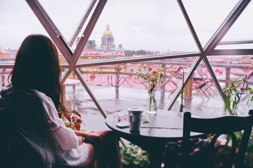 Rainy city. View from cafe window to Saint Petersburg old town.