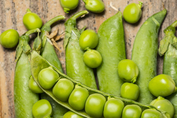 fresh green peas close up in the detail