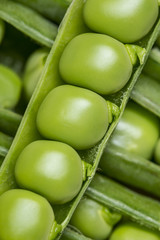 fresh green peas close up - macro photography