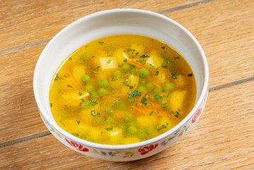 vegetable soup on the table