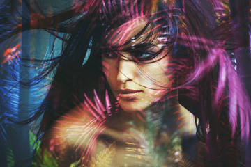 wild woman beauty portrait double exposure