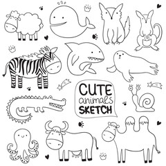 Vector cartoon sketch illustration with cute doodle animals