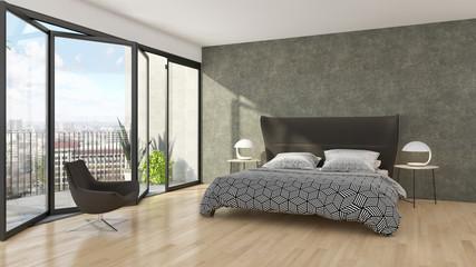 Modern bright bed room interiors 3D rendering illustration