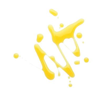 Spilled fresh olive oil on white background