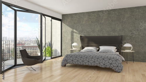Modern bright bed room interiors d rendering illustration