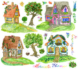 Design set with beautiful cottage houses, trees, lettering and garden objects isolated on white. Vintage country background with summer landscape, watercolor illustration with clip arts
