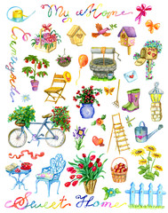 Design set with garden objects, flowers, birdhouse, bicycle and lettering isolated on white. Vintage country background with summer landscape, watercolor illustration with clip arts