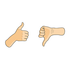 Like and dislike hands, thumbs up and down. Cartoon vector illustration.